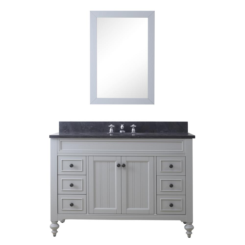 Water Creation Potenza 48 in. W x 33 in. H Vanity in Earl Grey with Granite Vanity Top in Blue Limestone with White Basin and Mirror