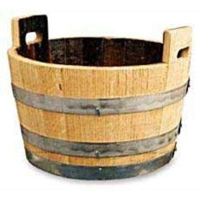 26 in. W x 17 in. H Light Brown Oak Wood Lacquer Wine Barrel Bucket