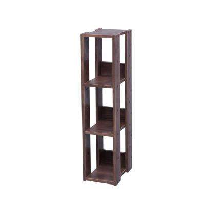 Mado Brown 3-Shelf Slim Open Wood Shelving Unit