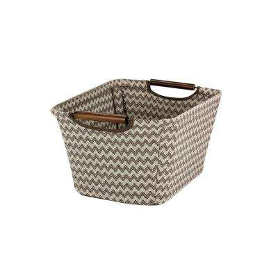 7.5 in H x 13 in. W Brown Chevron Pattern Cotton Blend Canvas Small Tapered Storage Bin with Wooden Handles