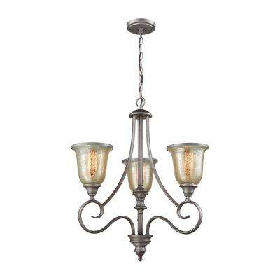 Georgetown 3-Light Weathered Zinc Chandelier With Mercury Glass Shades