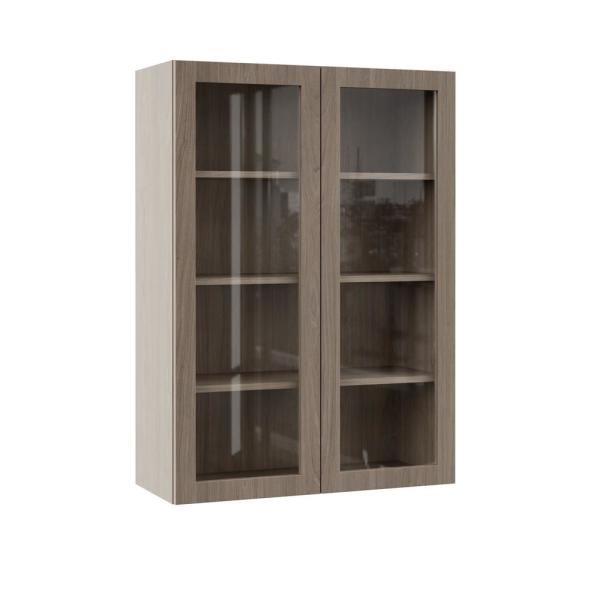 Hampton Bay Designer Series Edgeley Assembled 30x42x12 In Wall Kitchen Cabinet With Glass Doors In Driftwood Wgd3042 Eddw The Home Depot
