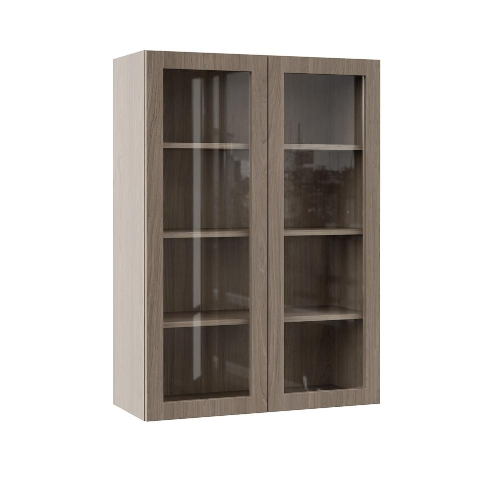 Hampton Bay Designer Series Edgeley Assembled 30x42x12 in. Wall Kitchen  Cabinet with Glass Doors in Driftwood