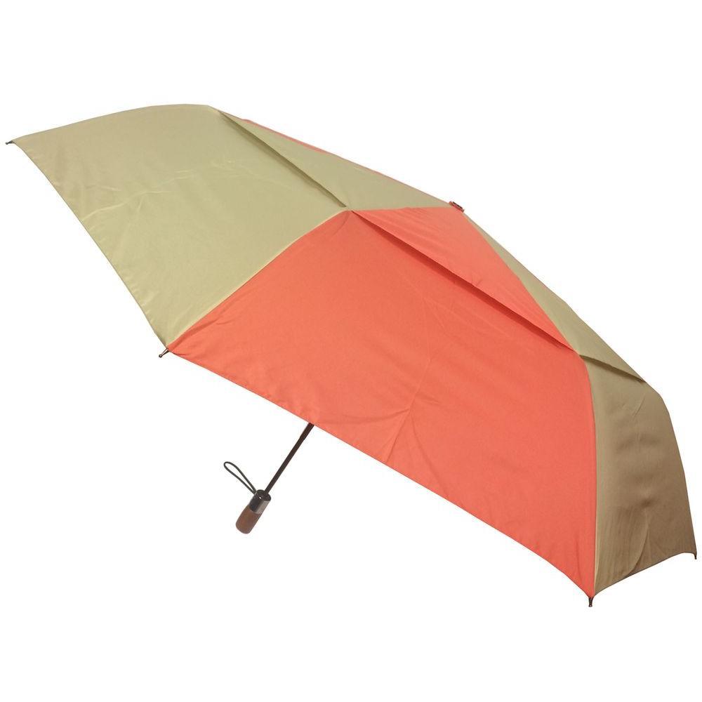 54 in. Arc Vented Canopy 3 Sectional Telescopic Windguard Oversized Auto Open Auto Close Umbrella in Ember/Desert