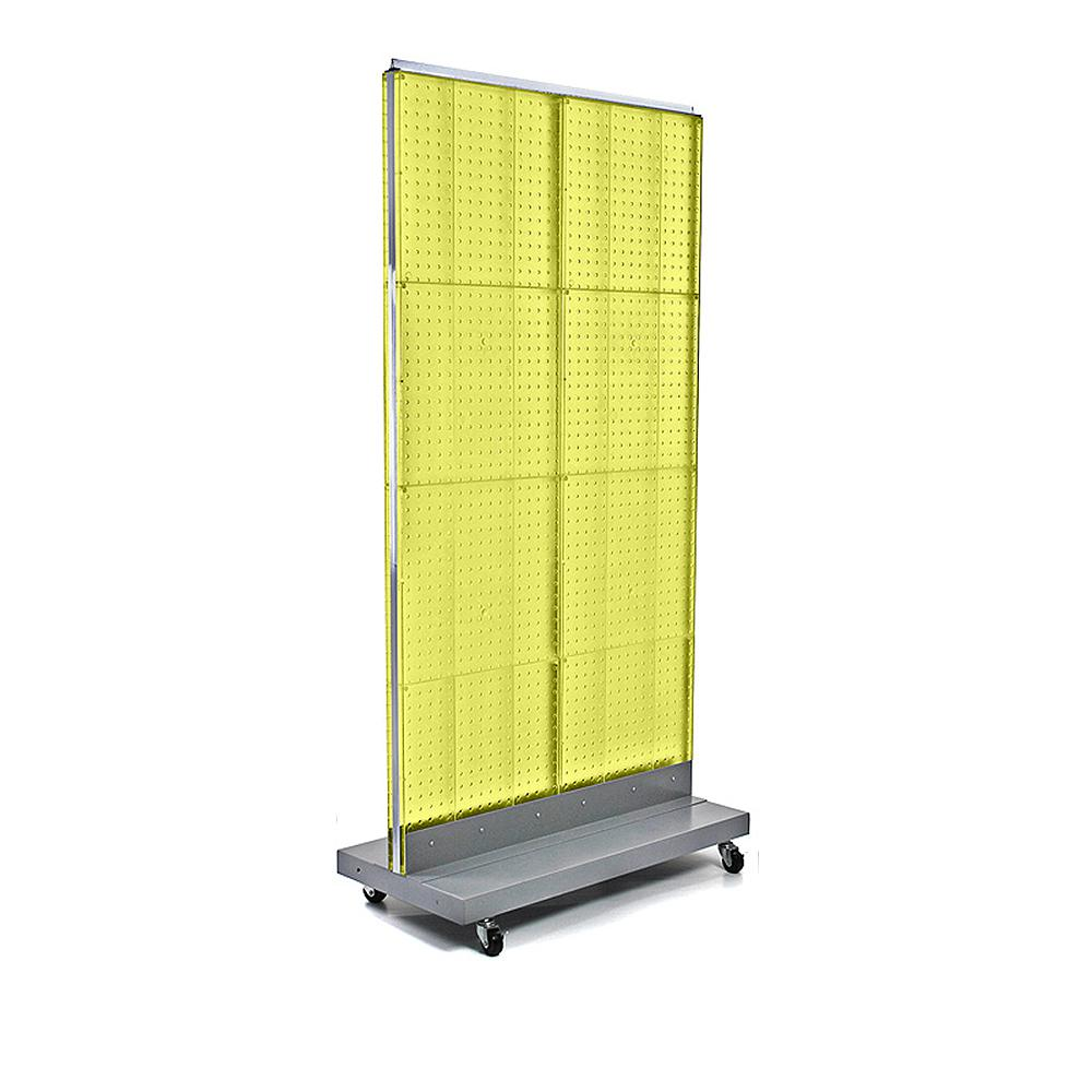 Azar Displays 60 in. H x 32 in. W 2-Sided Double Pegboard Floor Display On Wheeled Base in Yellow