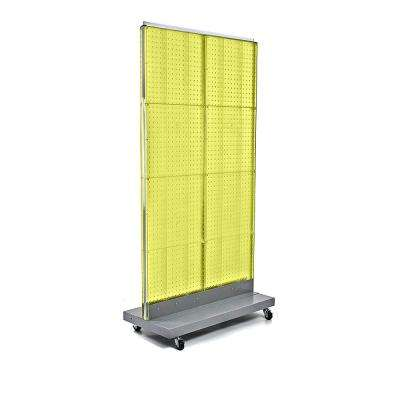 60 in. H x 32 in. W 2-Sided Double Pegboard Floor Display On Wheeled Base in Yellow