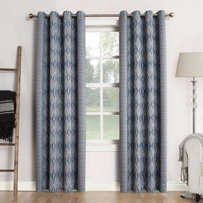 Tahoe Woven Home Theater Grade Blackout Indigo Grommet Single Curtain Panel - 52 in. W x 63 in. L