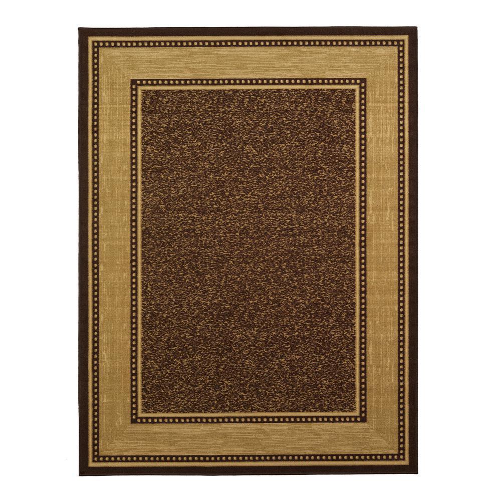 Ottomanson Contemporary Bordered Design Brown 8 ft. 2 inch x 9 ft. 10 inch Non-Skid Area... by Ottomanson