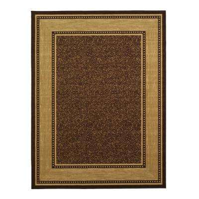Contemporary Bordered Design Brown 8 ft. x 10 ft. Non-Skid Area Rug
