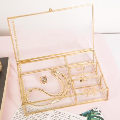 Vintage 4-Compartment in Gold Glass Keepsake Box