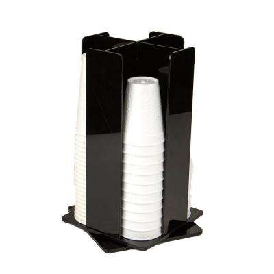 4-Compartment Acrylic Rotating Cup and Lid Dispenser, Black