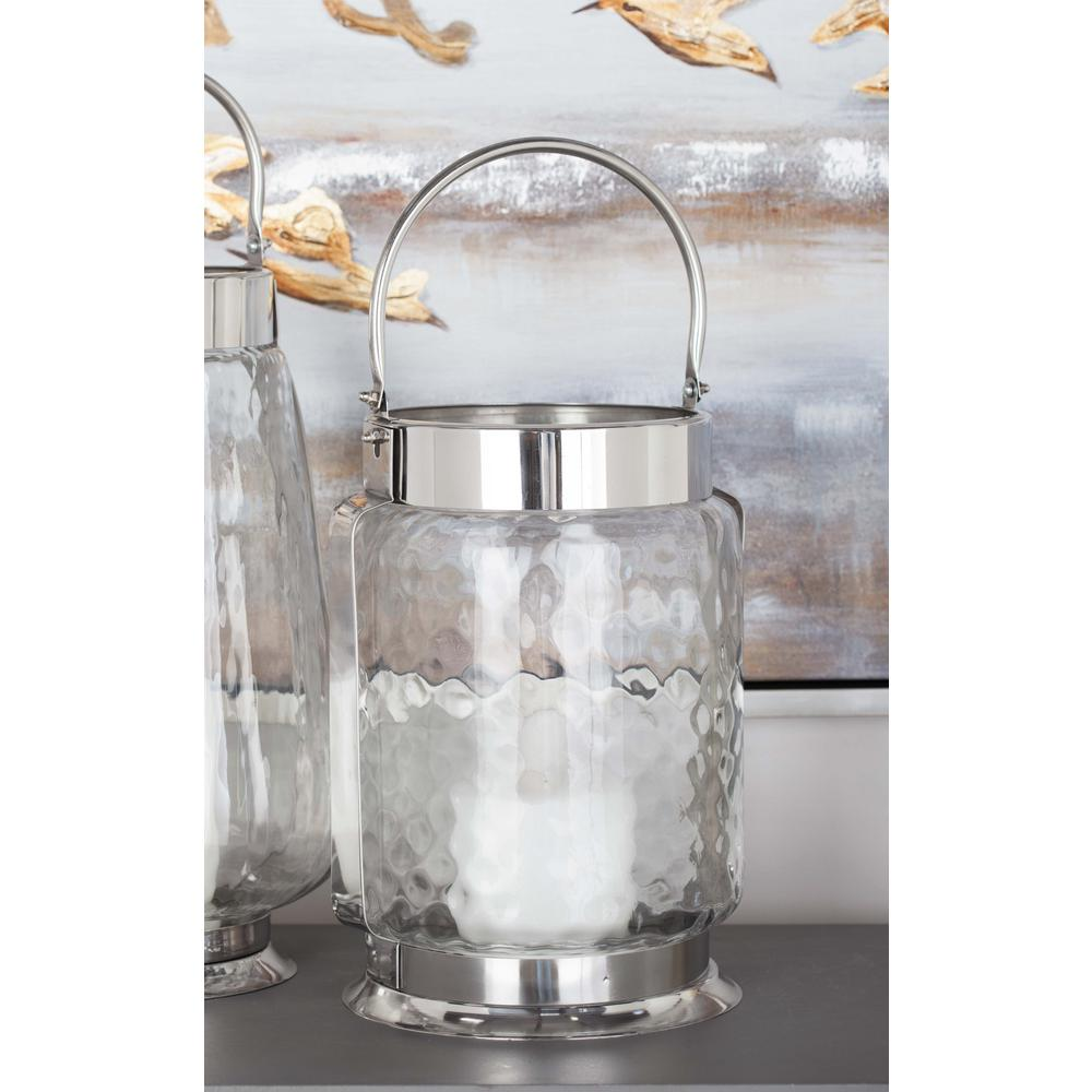 18 in. Silver-Finished Stainless Steel Frosted Glass Candle Holder