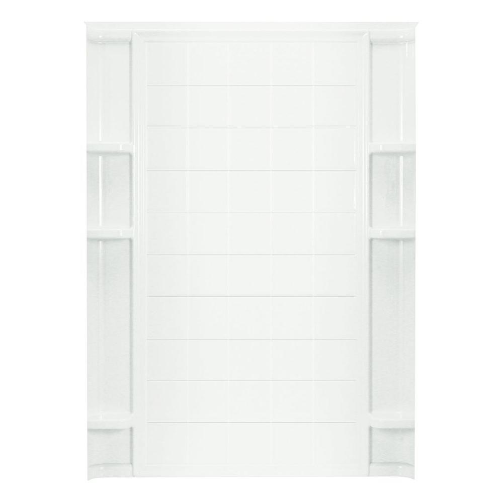 STERLING Ensemble 3-1/2 in. x 60 in. x 72-1/2 in. 1-piece Direct-to-Stud Shower Back Wall with Age-in-Place Backers in White