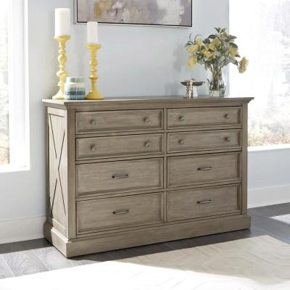 Mountain Lodge 8-Drawers Gray Dresser