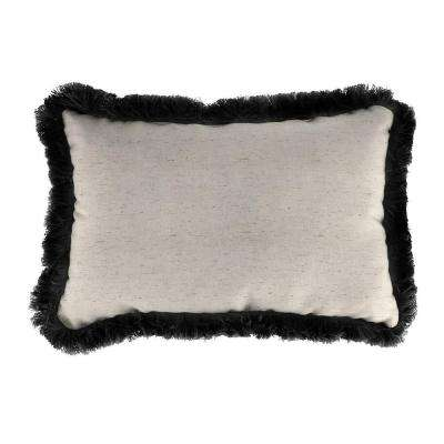 Sunbrella 19 in. x 12 in. Frequency Parchment Lumbar Outdoor Throw Pillow with Black Fringe