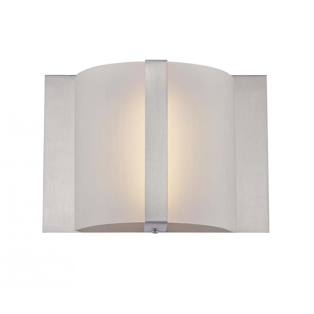 1-Light Polished Steel Wall Sconce