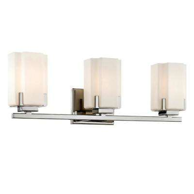 Taylor 3-Light Polished Nickel Vanity Light with Glass Shade