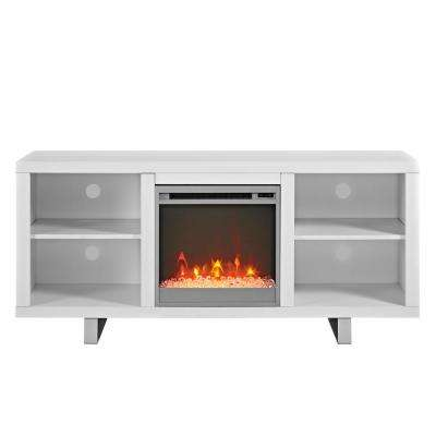 "58"" Modern Electric Fireplace TV Stand - White"