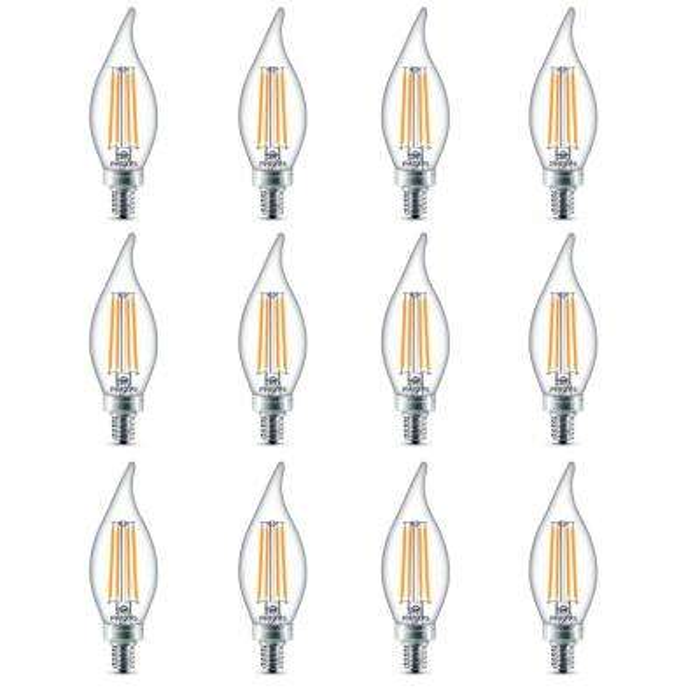 40-Watt Equivalent B11 Dimmable Edison Glass LED Candle Light Bulb Bent Tip Candelabra Base Daylight (5000K) (12-Pack)