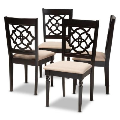 Renaud Sand and Espresso Fabric Dining Chair (Set of 4)