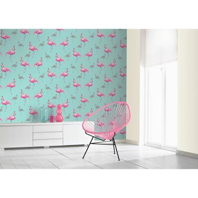 Flamingo Queen Pink/Teal Paper Strippable Roll (Covers 57 sq. ft.)