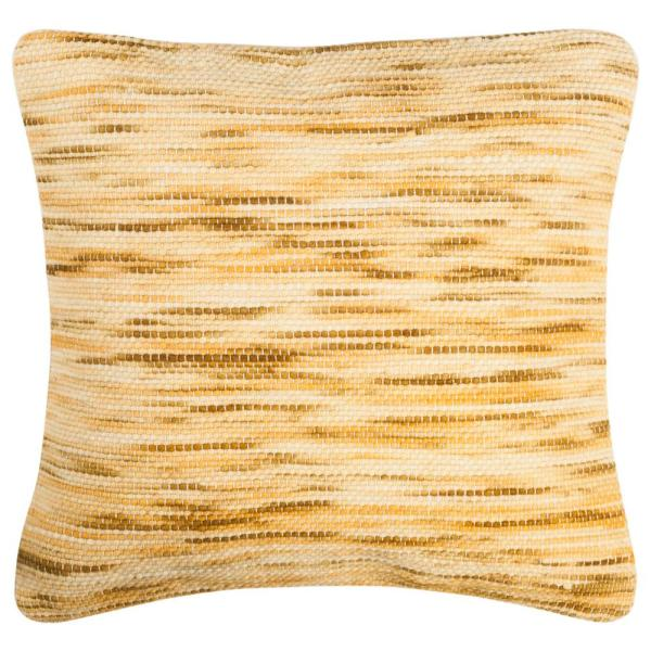 Tight Weave Mustard and Multicolored Striped Down Alternative 20 in. x 20 in. Throw Pillow
