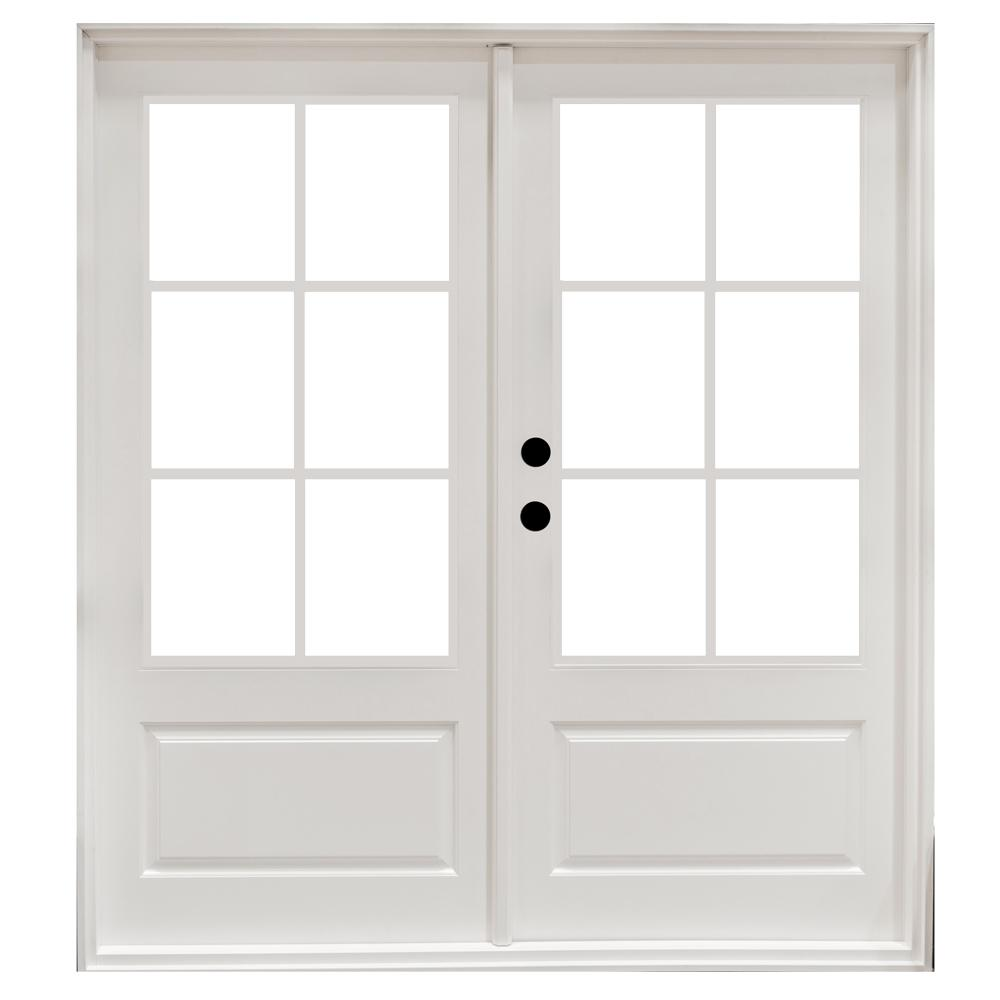 60 in. x 80 in. Fiberglass Smooth White Right-Hand Outswing Hinged