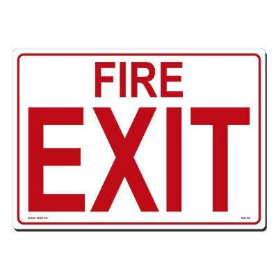 14 in. x 10 in. Fire Exit Sign Printed on More Durable, Thicker, Longer Lasting Styrene Plastic