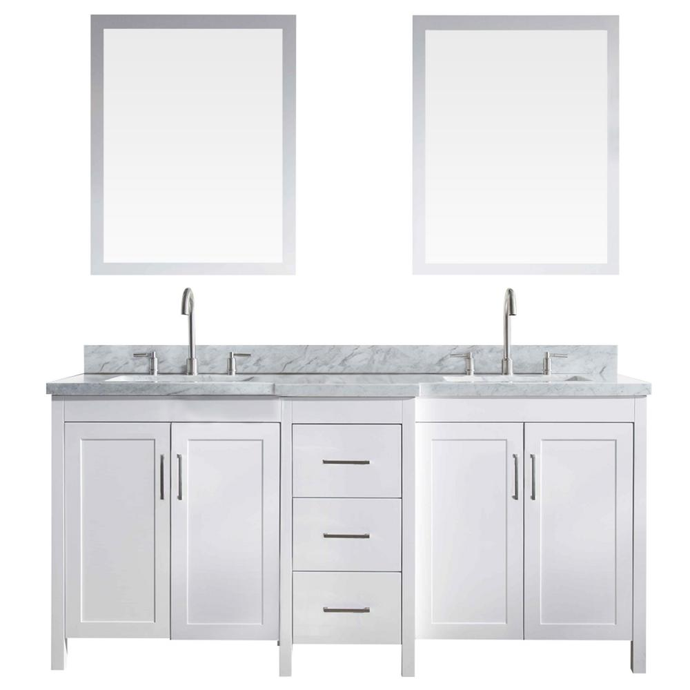 Ariel Hollandale 73 in. Bath Vanity in White with Marble Vanity Top in Carrara White with White Basins and Mirror