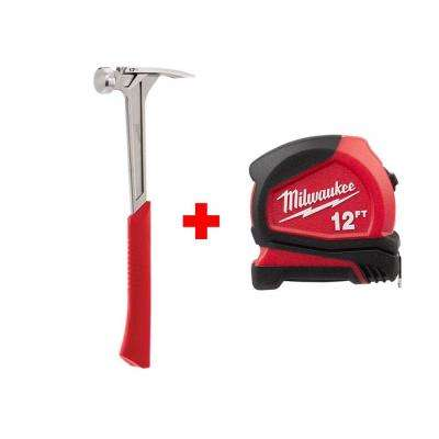 17 oz. Smooth Face Framing Hammer with Free 12 ft. Compact Tape Measure