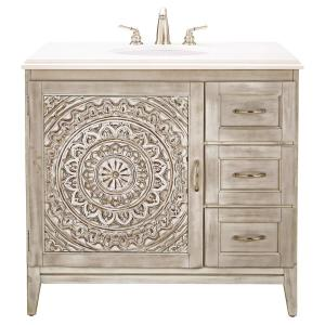 Home Decorators Collection Chennai 37 inch W Single Vanity in White Wash with Engineered... by Home Decorators Collection