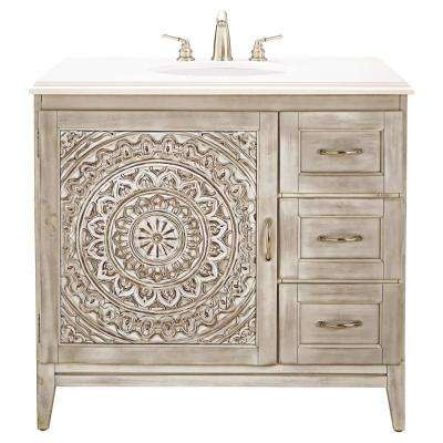 Chennai 37 in. W Single Vanity in White Wash with Engineered Stone Vanity Top in Crystal White with White Basin