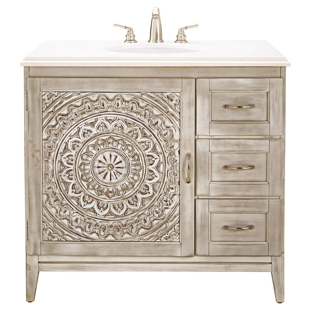 Home Decorators Collection Chennai 37 In W Single Vanity White Wash With Engineered Stone