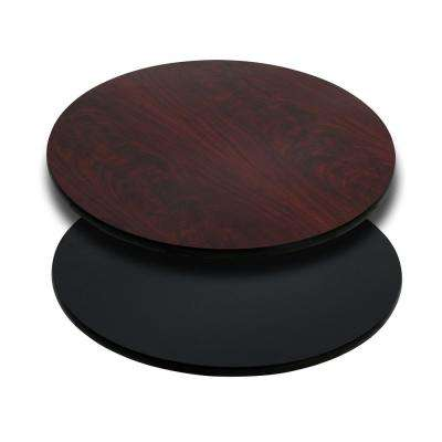 30 in. Round Black or Mahogany Table Top with Reversible Laminate Top
