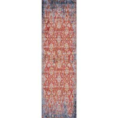 Manor Spice/Blue Expressions 2 ft. x 8 ft. Distressed Runner Rug