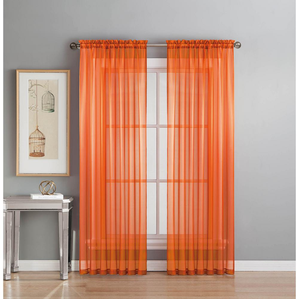 Sheer Elegance 84 In L Rod Pocket Curtain Panel Pair Orange Set Of 2