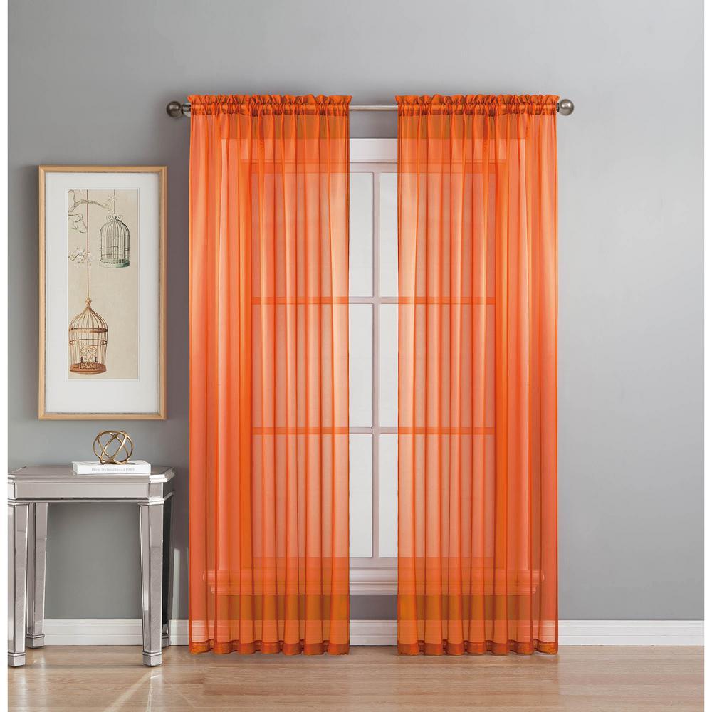 Sheer Elegance 84 In L Rod Pocket Curtain Panel Pair Orange Set Of 2