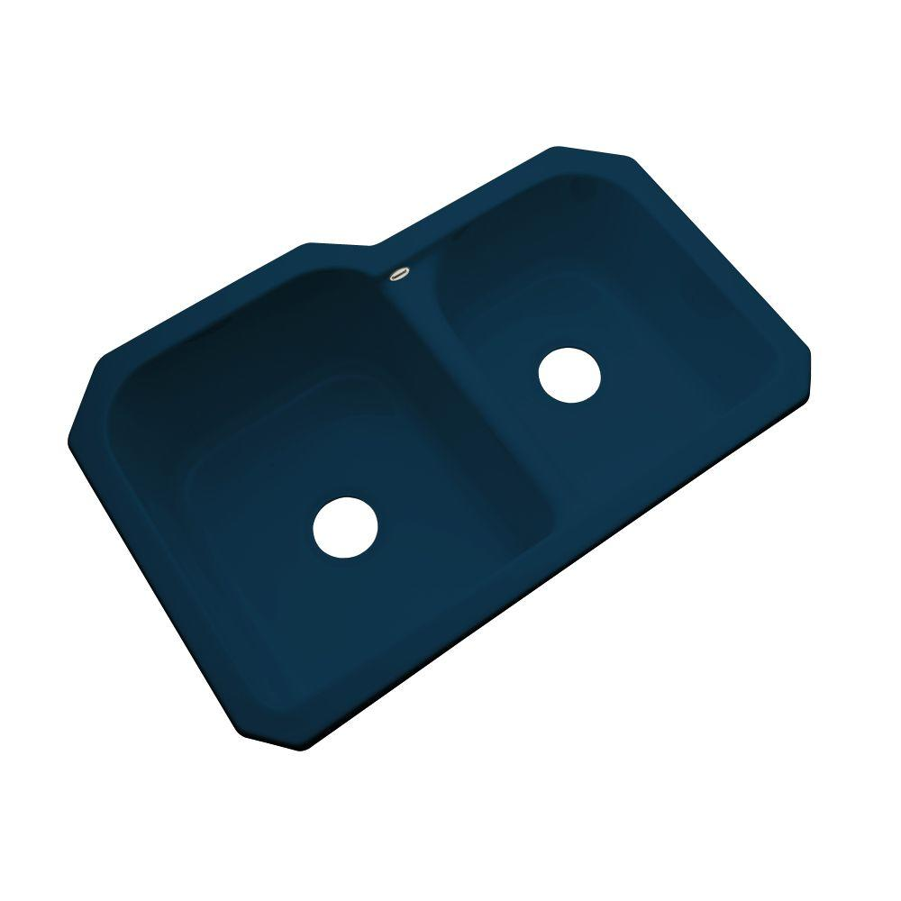 Thermocast Cambridge Undermount Acrylic 33 in. 0-Hole Double Basin Kitchen Sink in Navy Blue