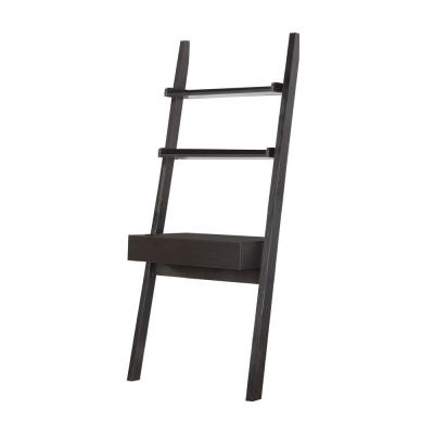 29.5 in. Cappuccino Rectangular 1 -Drawer Ladder Desk with Shelves