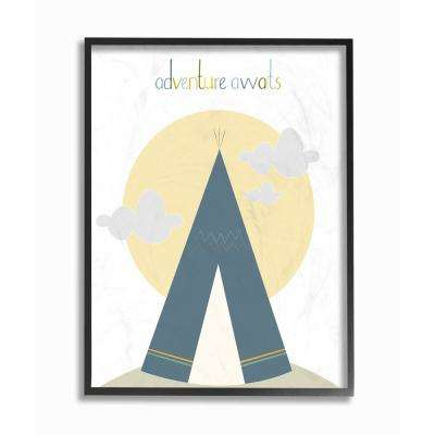 "16 in. x 20 in. ""Adventure Awaits Tee Pee in Blue"" by Karen Zukowski (Finny and Zook) Printed Framed Wall Art"