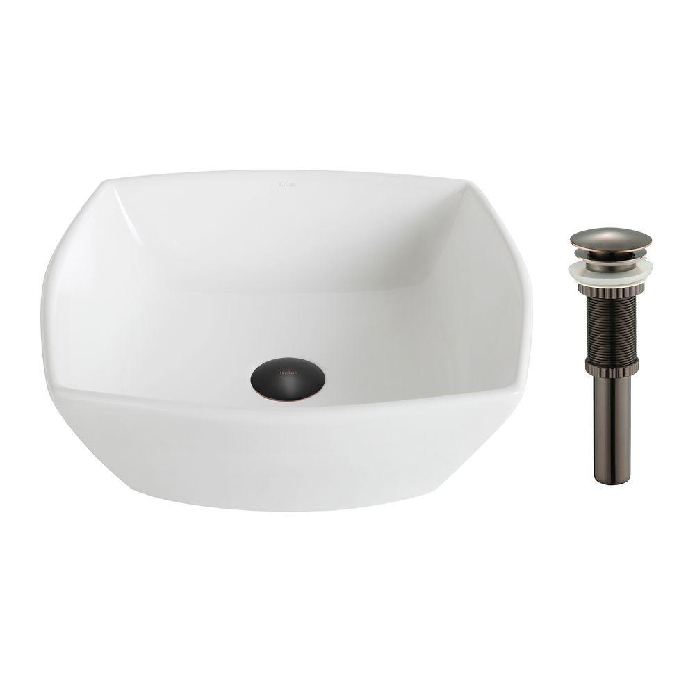 KRAUS Elavo Flared Square Ceramic Vessel Bathroom Sink In White With Pop Up  Drain In Oil