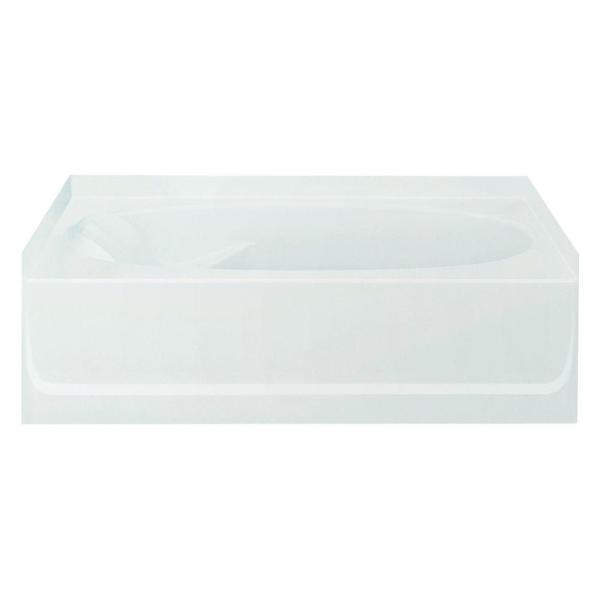 Ensemble 5 ft. Right Drain Rectangular Alcove Soaking Tub in White
