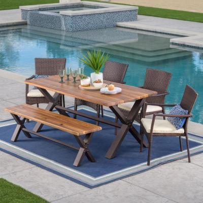 6-Piece Wicker, Wood and Metal Rectangular Outdoor Dining Set with Beige Cushion