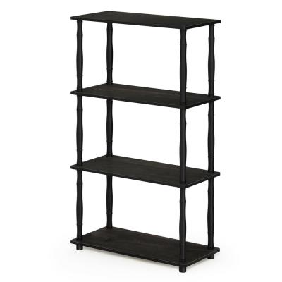 43.25 in. Espresso/Black Plastic 3-shelf Etagere Bookcase with Open Back