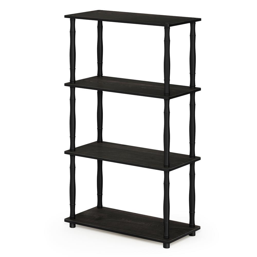 Furinno Turn-N-Tube Espresso/Black 4-Shelf Multipurpose Display Shelf with