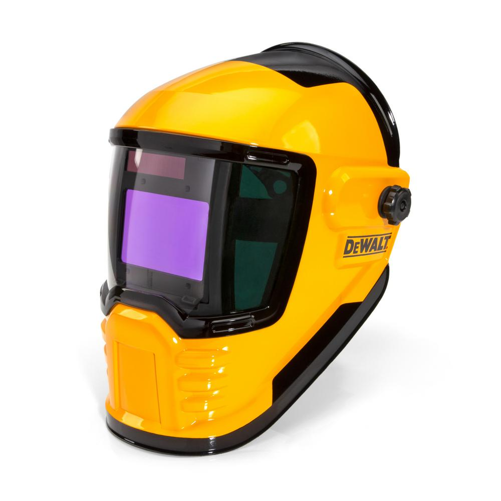 Dewalt 3 9 In X 2 4 In W View Auto Darkening Welding Helmet With Variable Number 4 13 Shade Lens Dxmf21011 The Home Depot