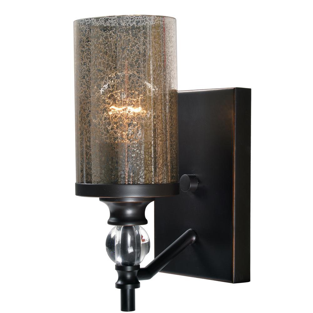 kenroy home chloe 1 light bronze sconce 93447orb the home depot. Black Bedroom Furniture Sets. Home Design Ideas