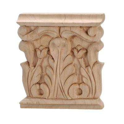 3-1/8 in. x 3 in. x 1/2 in. Unfinished Hand Carved North American Solid Alder Acanthus Wood Onlay Capital Wood Applique