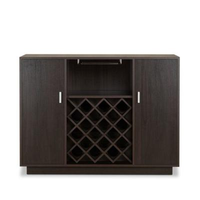 Contemporary Style 20-Bottles Espresso Brown Wooden Server with 2-Side Door Storage Cabinets