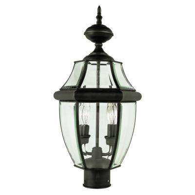 Courtyard 21.5 in. 2-Light Black Outdoor Postmount Lantern